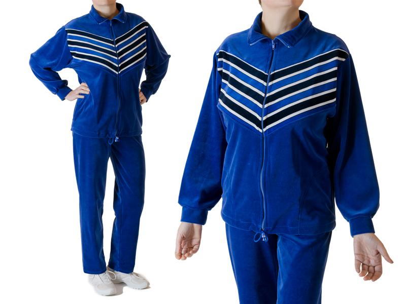 dresy damskie welurowe skosy niebieskie
