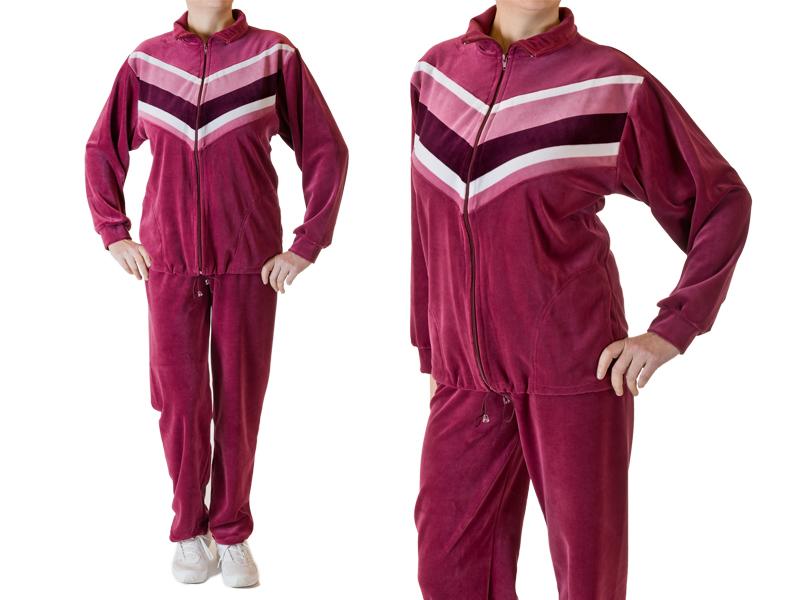 dresy damskie welurowe skosy różowe